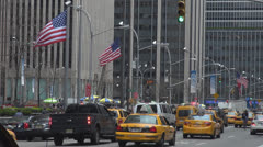 Heavy traffic car day Manhattan New York  NYC North America USA famous avenue Stock Footage