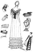 18th-century women accessories - stock illustration