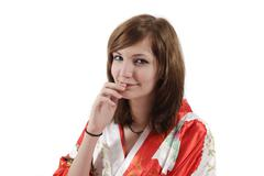 french young girl geisha in red silk kimono - stock photo