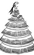 women party dress with crinoline - stock illustration