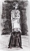 byzantine girl in a strict dress - stock illustration