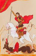 Russian knight in a red cloak Stock Illustration