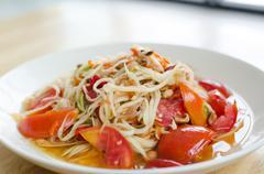 somtam, thai papaya salad - stock photo