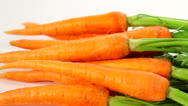 Stock Video Footage of Raw carrots with haulm - dolly shot