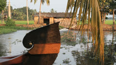 India Kerala backwater boat prow  Stock Footage