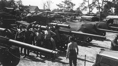 WW2 - German artillery convoy - stock photo