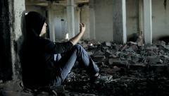 Junkie Getting High on Dope in Abandoned Building Crane Shot HD - stock footage