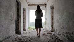 Depression Woman Walks toward Light at the End of the Tunnel Religious Concept Stock Footage