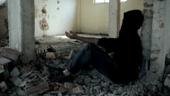 Stock Video Footage of Homeless Young Man Struggling with Drug Addiction in Abandoned Building HD
