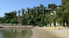 Beach on Mediterranean turkish resort Stock Footage