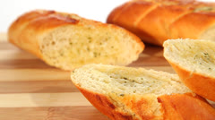 Fresh baked baguettes dolly Stock Footage