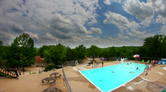 HDR of swimming pool and clouds and sky Stock Footage