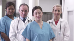 Portrait of doctors and nurses in hospital Stock Footage