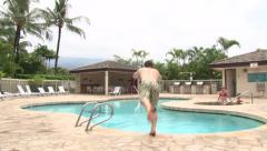Pool Day at the Resort Dive - stock footage