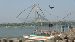India Kerala Cochin harbor Chinese fishing net suspended 31 Stock Footage