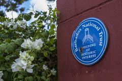 Barbados National Trust sign depict monuments on the Island Stock Photos