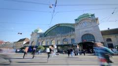 Timelapse Basel Station Bahnhof Trafic Stock Footage