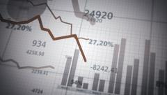 Financial diagrams showing a decreasing tendency.  White-Blue. Stock Footage
