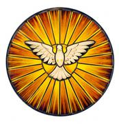 holy spirit stained glass - stock photo