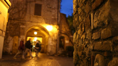 Medieval town with people  Stock Footage