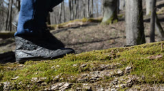 Girl with rivets fibers sneakers goes at mossy log Stock Footage