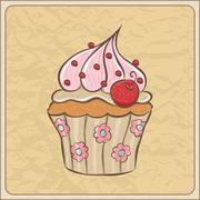 Cherry cupcake Stock Illustration