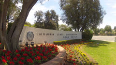 California State University Long Beach Entrance Sign Close Stock Footage