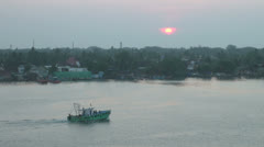 India Kerala Cochin harbor green boat and magenta triangle sunset 20 Stock Footage