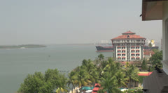 India Kerala Cochin harbor Port Trust building and ship time lapse 21 Stock Footage