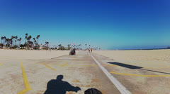 People Getting Exercise At The Beach- Long Beach CA Stock Footage