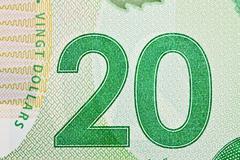 Ottawa, canada, avril 13, 2013,  extreme closeup of new polymer twenty dollar Stock Photos