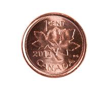 Ottawa, canada, avril 13, 2013,  a brand new shiny 2012 canadian one cent coi Stock Photos