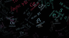 Periodic table in color 2D elements Stock Footage