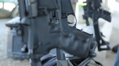 Assault Rifle detail. Rack focus. Stock Footage