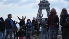 Eiffel Tower tourists. Stock Footage