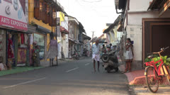 India Kerala Cochin old town wobbly cart behind man 27 Stock Footage