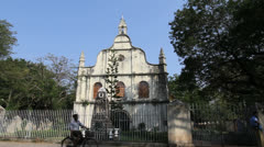 India Kerala Cochin St Francis church and stone monument Stock Footage
