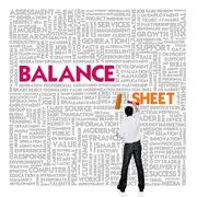 Business word cloud for business and finance concept, balance sheet Stock Illustration