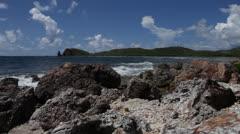 timelapse rocky shore breaks 1800% - stock footage
