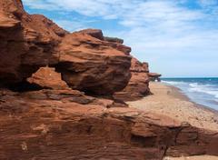 PEI Eroding Red Shoreline Cliffs - stock photo