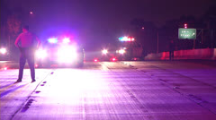 Freeway Shut Down By Police, Patrol Cars, Flashing Lights At Night Stock Footage