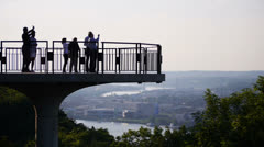 Pittsburgh Overlook Tourists Stock Footage