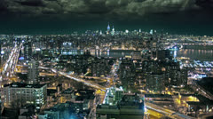 Manhattan Skyline Timelapse New York City NYC USA from Beautiful Brooklyn Night Stock Footage
