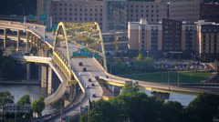 Fort Duquesne Bridge Traffic Stock Footage