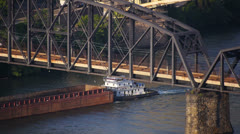 Pittsburgh Coal Barge and Subway Train Stock Footage