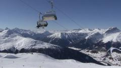 Winter panorama with ski lifts - stock footage