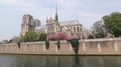 Notre Dame Cathedral and the Seine. Stock Footage