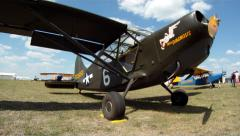 Warbird Airplane L-5 Exterior Stock Footage