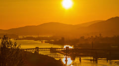 Sunset of Lion Gate and 2nd Narrow Bridge Stock Footage