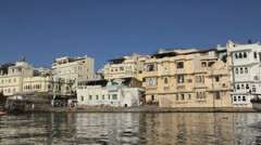 India Rajasthan Udaipur boat and City Palace on moving shore 14 Stock Footage